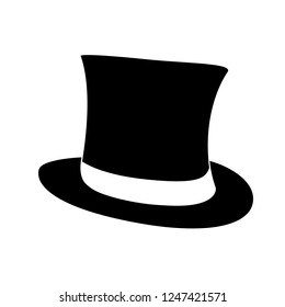 Black retro top hat. Gentleman cylinder hat illustration.