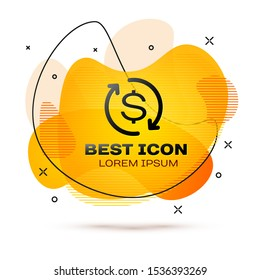 Black Return of investment icon isolated on white background. Money convert icon. Refund sign. Dollar converter concept. Fluid color banner