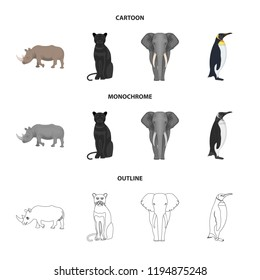 Black rhinoceros, panther wild cat, African animal elephant, imperial penguin. Wild animals set collection icons in cartoon,outline,monochrome style bitmap symbol stock illustration web.