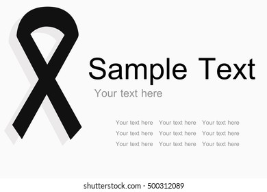 black ribbon, mourning symbol with sample text