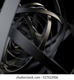 black rings. dark abstract background. 3d rendering
