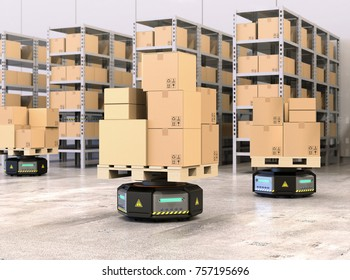 Black robot carriers carrying pallets with goods in modern warehouse.  Modern delivery center concept. 3D rendering image.