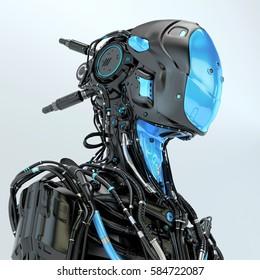 Black robotic soldier pilot with blue elements, 3d rendering