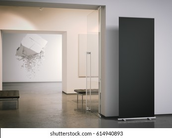 Black roll up banner at the entrance of gallery. 3d rendering