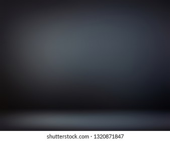 Black room 3d. Dark ombre defocus illustration. Scary empty interior abstract blurred background. Low light and shadow simple pattern. Night illumination on wall and floor texture.