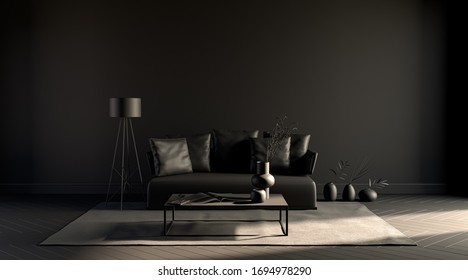 Black room, with empty wall, single sofa, plant, carpet  in monochrome black color, 3d rendering, poster mockup.