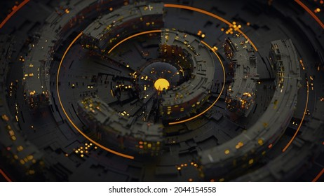 Black rotating circle elements. Computer generated abstract background. 3D rendering illustration with DOF
