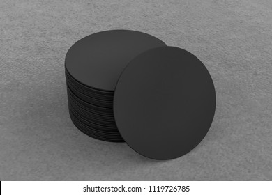 Black round beer coasters on gray background with clipping path around coasters. 3d illustration