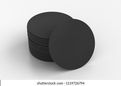 Black round beer coasters on white background with clipping path around coasters. 3d illustration