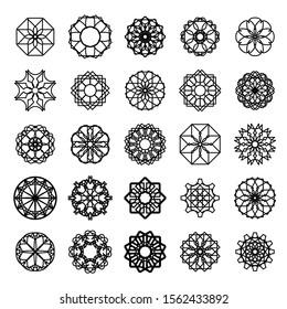 Black round east ornaments set. Circular symbols isolated on white