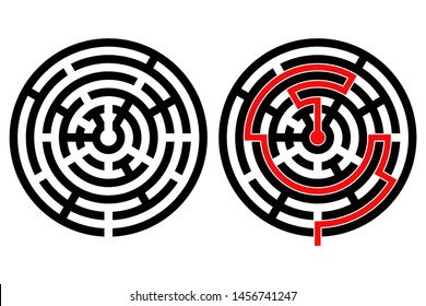 Black round maze with solution. With and without red path to center. Illustration isolated on white background. Raster version