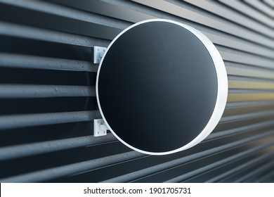 Black round signboard on wall. Exhibition and advertising concept. Mock up. 3D Rendering