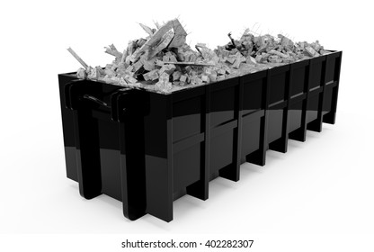 Black rubble container perspective front view isolated on white background. 3D Rendering, 3D Illustration.