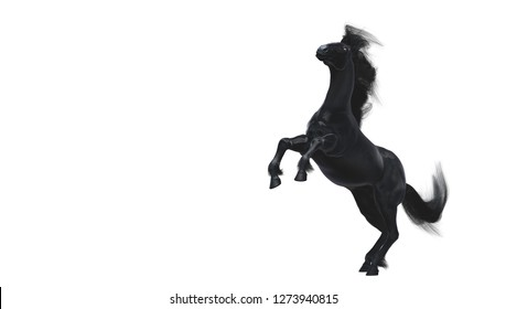 Black running horse on white background, 3d illustration