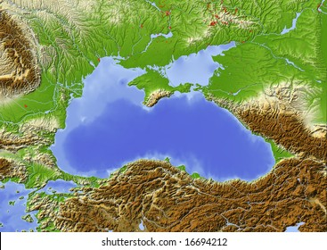 Black Sea with immediately surrounding countries. Shaded relief map with major urban areas.  Colored according to elevation.  Projection: Mercator Extents: 24.5/45/38.5/49 Data source: NASA