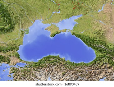 Black Sea with immediately surrounding countries. Shaded relief map with major urban areas.  Colored according to vegetation.  Data source: NASA
