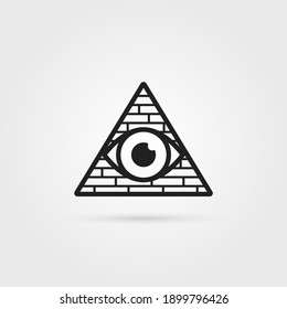 black secret society logo with shadow. linear flat style trend modern simple conspiracy logotype graphic art design element. concept of conspiracy theory or hidden government