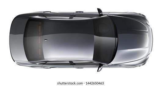 Black sedan car - top view (3D render)