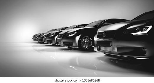 Black sedan cars standing in a row. Fleet of generic modern cars. Transportation. 3D illustration.