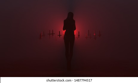 Black Seductive Demon in a Futuristic Haute Couture Shrink Wrapped Dress Waving and Thigh Boots Upside Down Floating Crosses Abstract Demon in a Foggy Void Right View 3d illustration 3d render