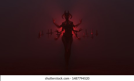 Black Seductive Multi-Armed Devil Woman with Upside Down Floating Crosses Abstract Demon in a Foggy Void Front View 3d illustration 3d render