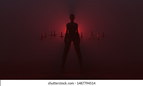 Black Seductive Sexy Biker Demon Woman in Spiky Bodice and Leather Boots with Upside Down Floating Crosses Abstract Demon in a Foggy Void Front View 3d illustration 3d render