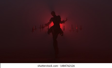 Black Seductive Vampire Devil Floating in a Futuristic Haute Couture Short Skirt with  Upside Down Floating Crosses Abstract Demon in a Foggy Void 3d illustration 3d render