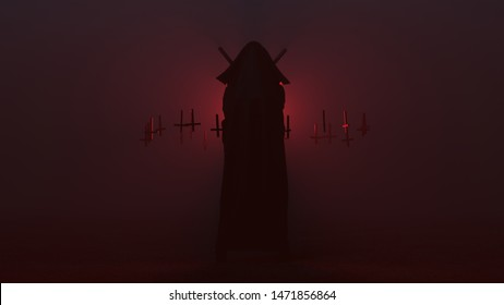 Black Seductive Vampire Devil in a Futuristic Haute Couture Full Body Wrapped Cloak and Upside Down Floating Crosses an 2 Swords Abstract Demon in a Foggy Void 3d illustration 3d render