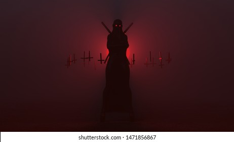 Black Seductive Vampire Devil in a Futuristic Haute Couture Full Body Shrink  Wrapped and Upside Down Floating Crosses an 2 Swords Abstract Demon in a Foggy Void 3d illustration 3d render