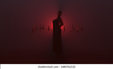 Black Seductive Vampire Devil in a Long Futuristic Haute Couture Dress with her Hands on her Hips Back Arched and Upside Down Floating Crosses Abstract Demon in a Foggy Void 3d illustration