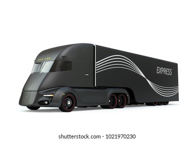 Black self-driving electric semi truck isolated on white background. 3D rendering image.