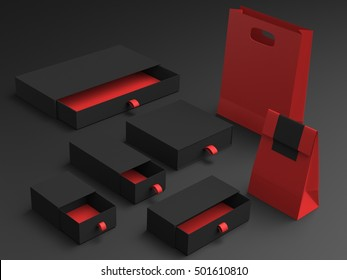Black set box and paper bag 3d rendering
