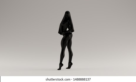 Black Sexy Demon Woman in Tight Leggings Over a Swimsuit and Viel Evil Spirit Front View 3d illustration 3d render