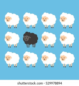 Black sheep between white sheep illustration. Stand out from the crowd concept.