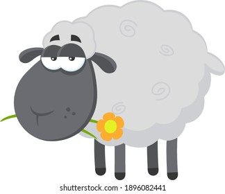 Black Sheep Cartoon Character With A Flower. Raster Illustration Flat Design Isolated On Transparent Background
