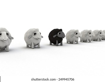 Black Sheep in White Flock against White Background