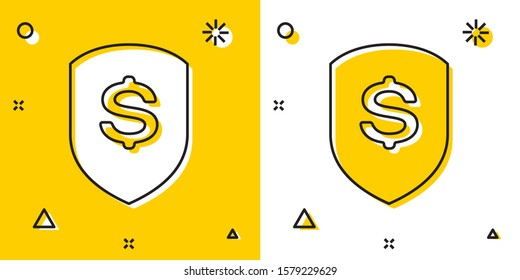 Black Shield and dollar icon isolated on yellow and white background. Security shield protection. Money security concept. Random dynamic shapes.