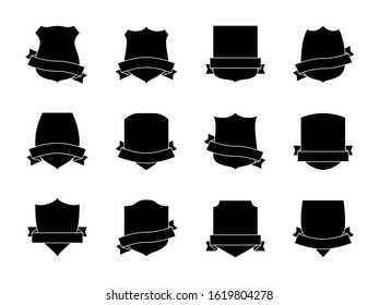Black shield labels with ribbons. Heraldic royal blazon badges. Medieval insignia shields, pennants. Security signs retro shielding military wreath shape logo set