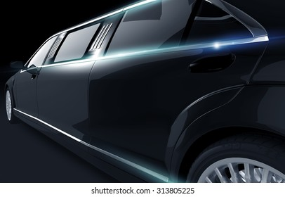 Black Shiny Limousine Illustration. Limo Side View Closeup.