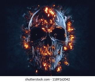 Black shiny skull with flames and explosions - 3D Illustration