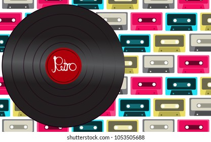 Black shiny vinyl musical analogue retro old hipster vintage gramophone record for a vinyl gramophone with an inscription of a retro against a background of multi-colored audio cassettes.