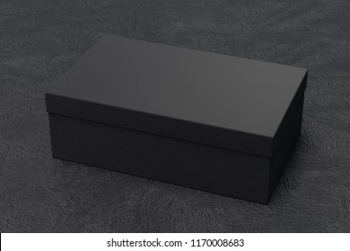 Black shoe box container on black background. Packaging mockup. 3d illustration