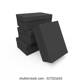 Black Shoe boxes isolated on white background, Mockup for your Design. 3D illustration