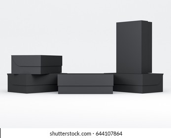 Black shoe boxes Mockup in light studio, 3d rendering