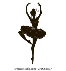 The black silhouette of a ballerina on a white background,sketch.