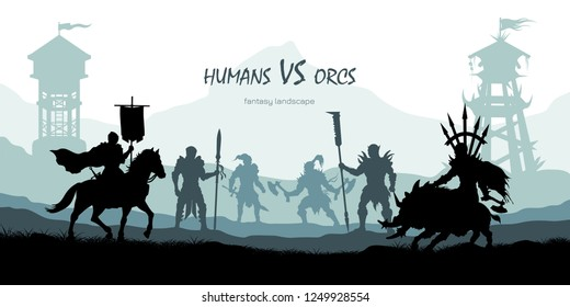 Black silhouette of battle orcs and humans. Fantasy landscape. Medieval 2d panorama. Knights and warriors fighting scene. Panorama with towers.