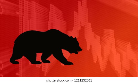 A black silhouette of a bear with a red chart in the background indicates a bearish stock market. The bear is looking down on the descending chart.