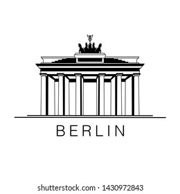 "Black silhouette of Brandenburg Gate on white background as icon of Germany. ""Berlin"" text. Hand sketched illustration for website banners, web page, print, promotional materials, travel postcards."