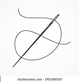 Black Silhouette or Contour Needle and Thread Concept Industry Tailoring and Haberdashery Element. illustration of Tool for Sew