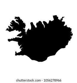 black silhouette country borders map of Iceland on white background of illustration. Raster copy.